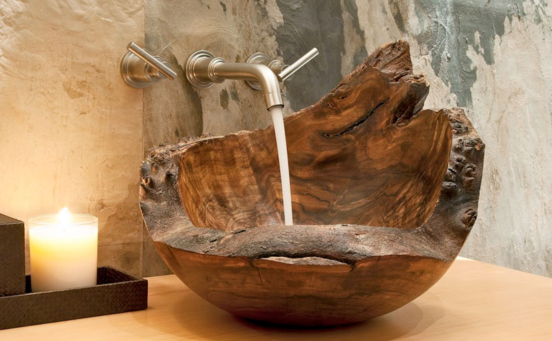 A petrified wood sink will give a unique feeling to your bathroom reno