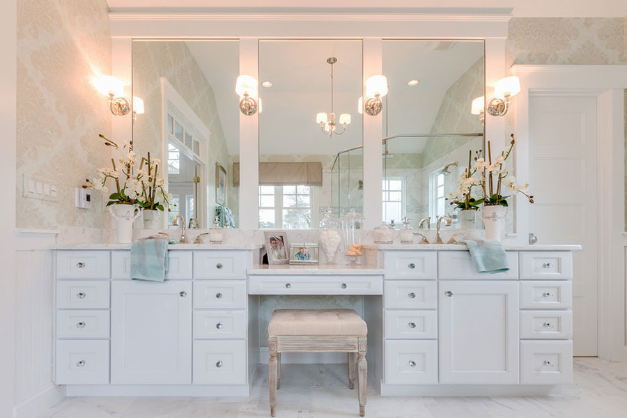 Built-in makeup station vanities