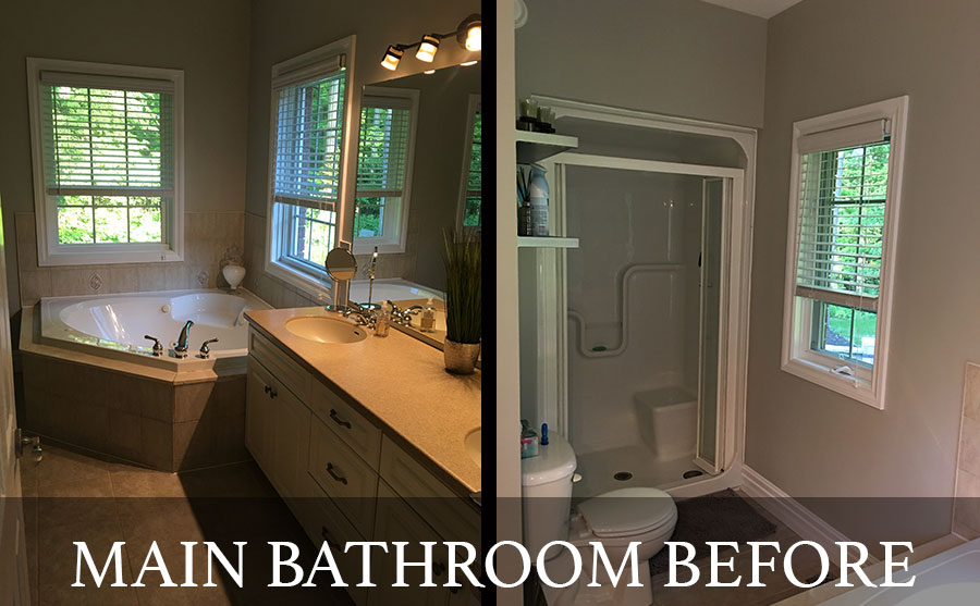 Main bathroom before renovation by Lucas Richard Design