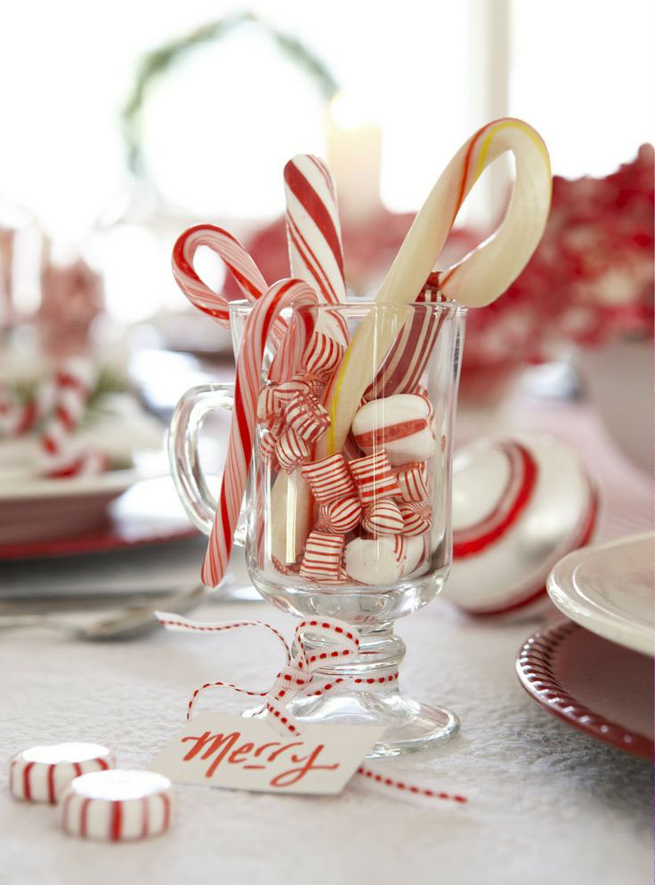 Put a bunch of candy canes, peppermints for your Christmas guests