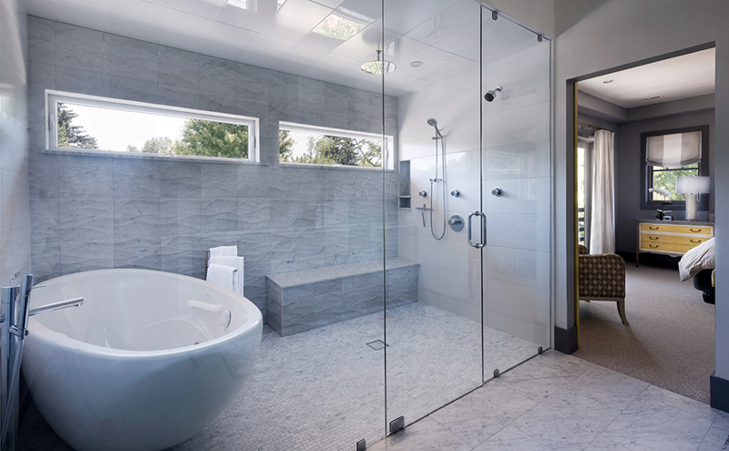 Sometimes wet rooms can include a shower and freestanding tub in an enclosed space separate from the sink and toilet area- Vaughan - Bathroom renovation